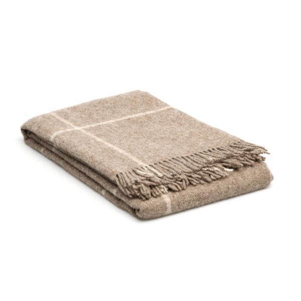 wollen deken Beige - creme met grote ruit