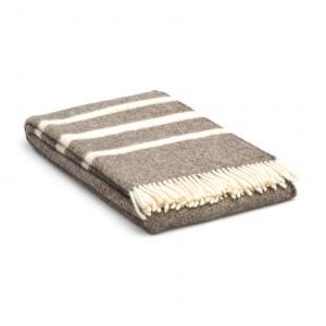wollen deken Beige met strepen in creme