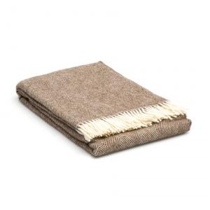 Wol deken beige - creme - visgraatmotief