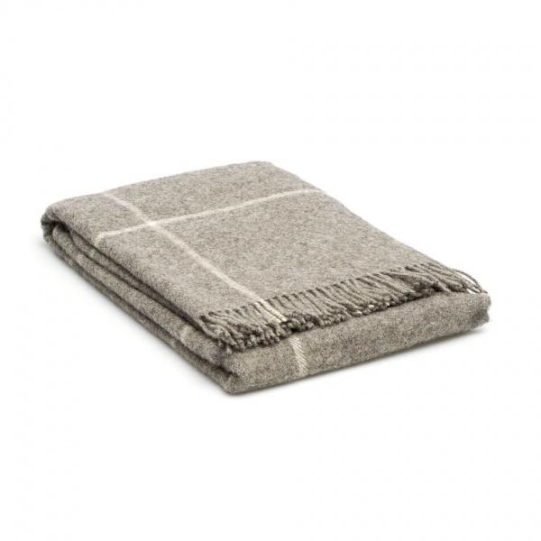 Grote wollen deken Grijs met ruit