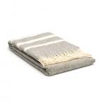 Wollen deken grijs - creme met strepen - gestreept